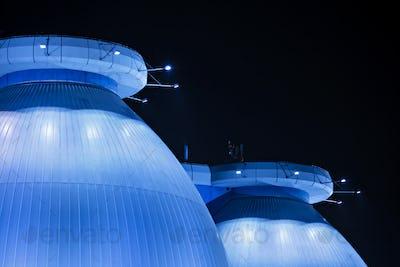 Blue Sewage Plant At Night Detail