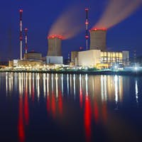 Nuclear Power Station At Night, Belgium