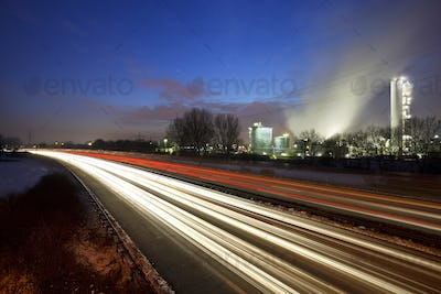 Traffic And Industry At Night