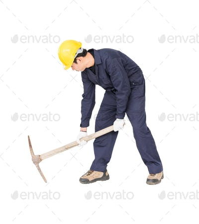 Man in uniform hold pick mattock_-9