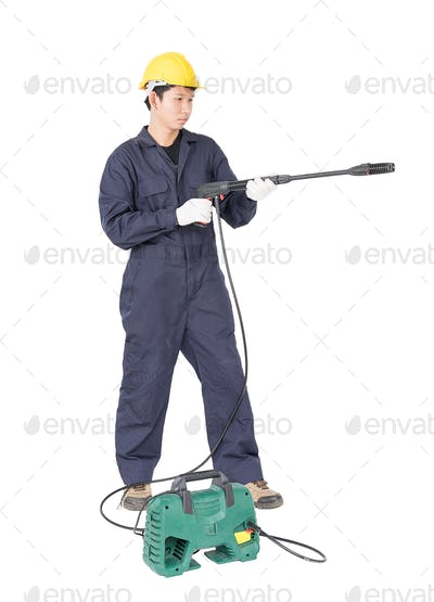 man stand and holding high pressure water-6