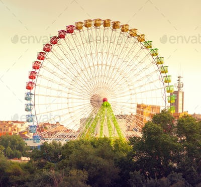 Vintage Ferris wheel looming above trees will