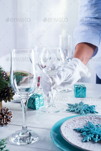 Beautiful table setting for the festive table