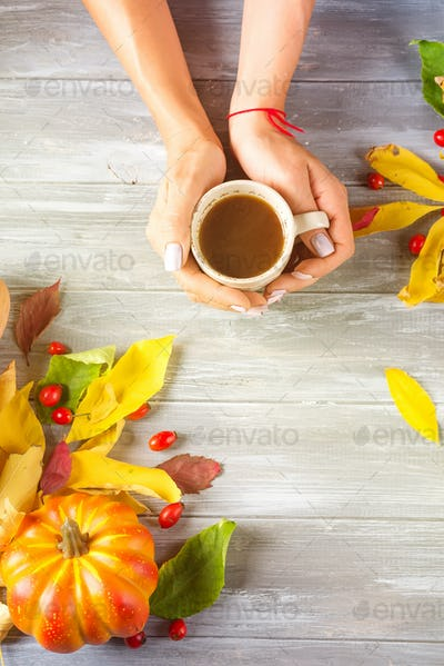 Hands of a girl holding hot coffee on a gray wooden background with copy space. Top view