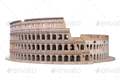 Coliseum, Colosseum isolated on white. Architectural and histori