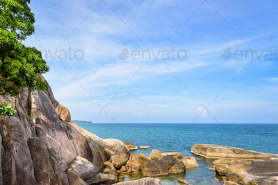 Rock and the blue sea at Koh Samui