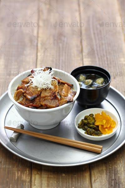 teriyaki pork rice bowl, butadon