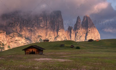 Beautiful day in the Dolomites mountain landscape