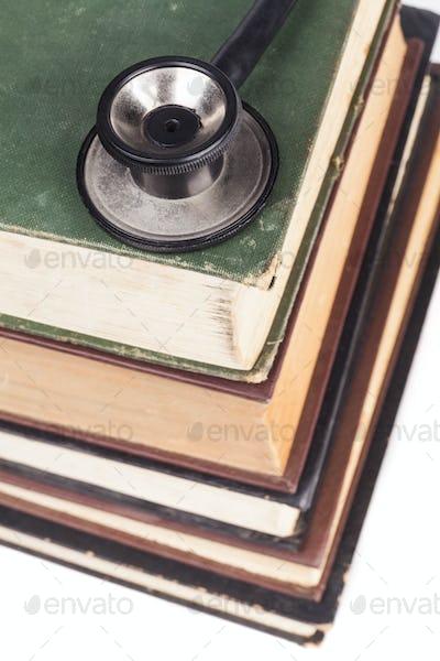 Stethoscope on Books Pile
