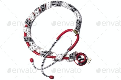 Red Stethoscope and Tape