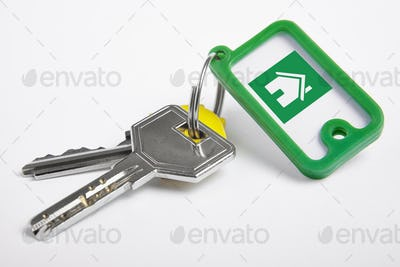 Key ring with keys over white background. Rent, buy
