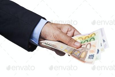 Holding Euro Banknotes