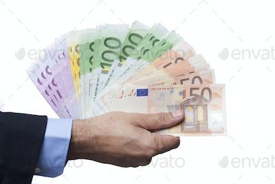 Holding Euro Banknotes on White