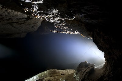 Cave detail with light
