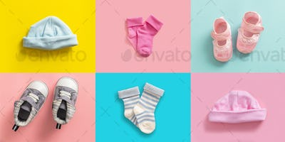Baby boy and girl shoes and socks collage, pastel colored background