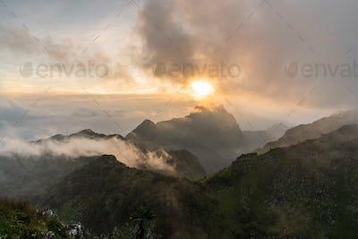 Beautiful sunset Landscape at Doi Luang Chiang Dao in Chiang Mai, Thailand