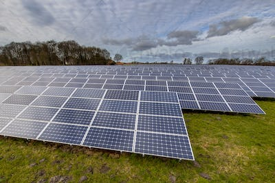 solar energy panels in german meadow