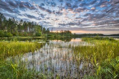 Sunset over lake Nordvattnet in Hokensas Nature reserve
