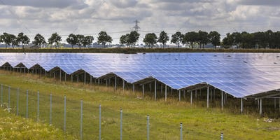 Solar panel field in industrial area on summer day