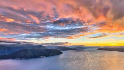 Aerial view of Norwegian fjords