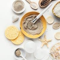 Preparing natural cosmetic mask in ceramic bowl