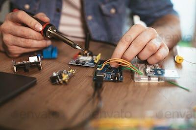 Soldering Electronic Circuit Board