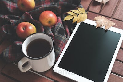 Tablet and hot tea