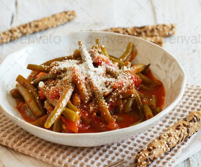 Stewed french bean with tomato