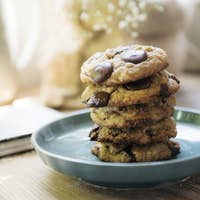 Chocolate chip cookies food photography recipe idea