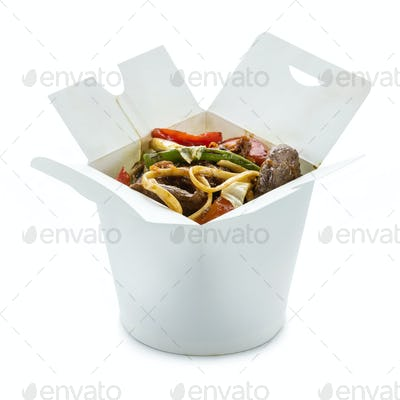 Ramen noodles with duck and vegetables in take-out box over whit