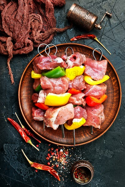 raw meat for kebab