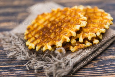 Whole wheat Belgium waffle horizontal view
