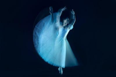 photo as art - a sensual and emotional dance of beautiful ballerina through the veil