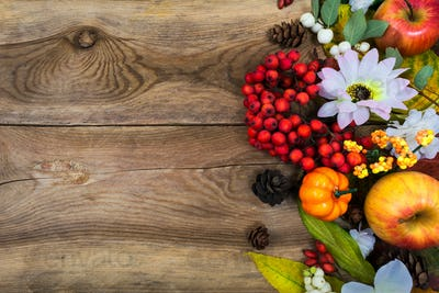 Thanksgiving greeting with small pumpkin, rowan, copy space