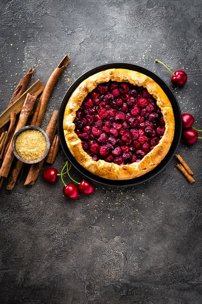Fruit pie. Sweet pie, tart with fresh cherry. Delicious cake with cherry