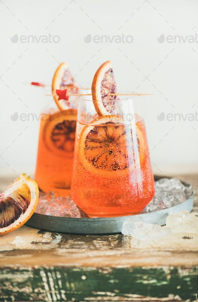 Aperol Spritz cocktail drink with orange and ice, copy space