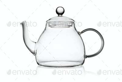 Transparent glass teapot