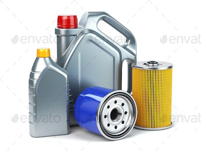 Car oil filter and motor oil canisters isolated on white backgro