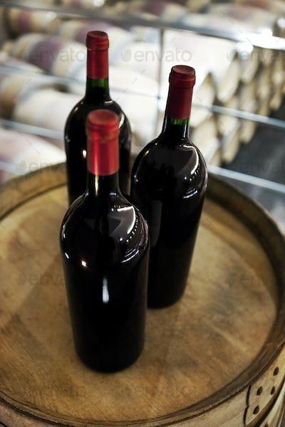 Bottles in a winery