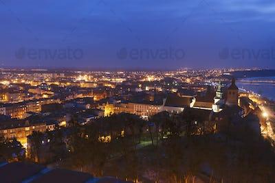 Old town of Grudziadz at night