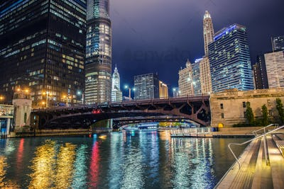 Illuminated City of Chicago