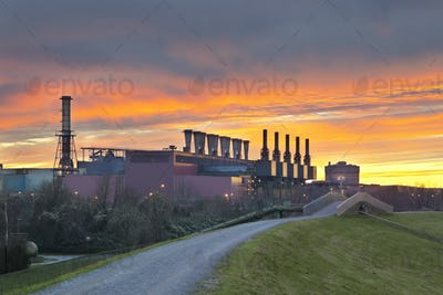 Steel Plant With Fiery Sky