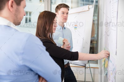Businesswoman Sticking Notes While Standing By Male Colleagues