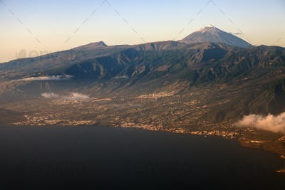 Aerial view of Tenerife with Teide