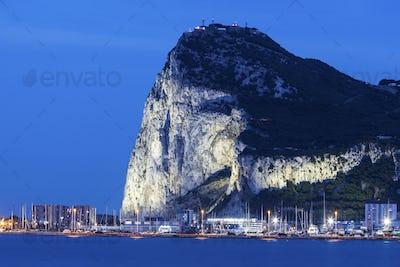 Panorama of Gibraltar seen from La Linea de la Concepcion