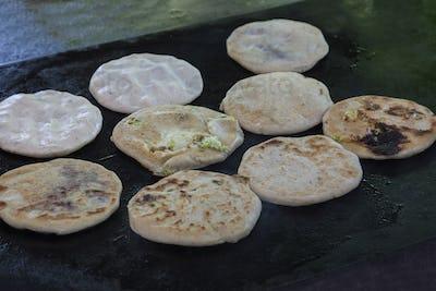 Pupusas in street restaurant