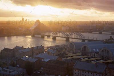 Panorama of Riga at sunset
