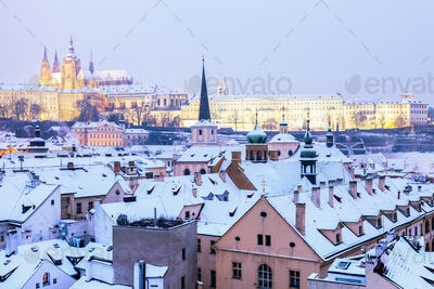 Winter in Prague - city panorama with St. Vitus Cathedral