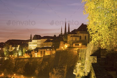 Panorama of Luxembourg City at sunset