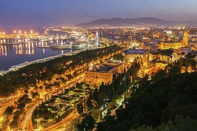 Malaga panorama at sunset